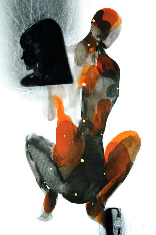 Como um verso que envelhece  nanquim pastel tinta acrilica carvao sobre_papel 100X070cm 2012