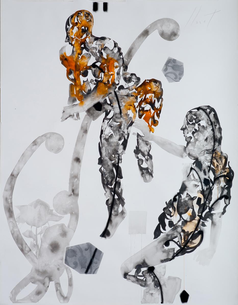Lugar do exilio nanquim pastel oleo carvao sobre papel 200X150cm 2014