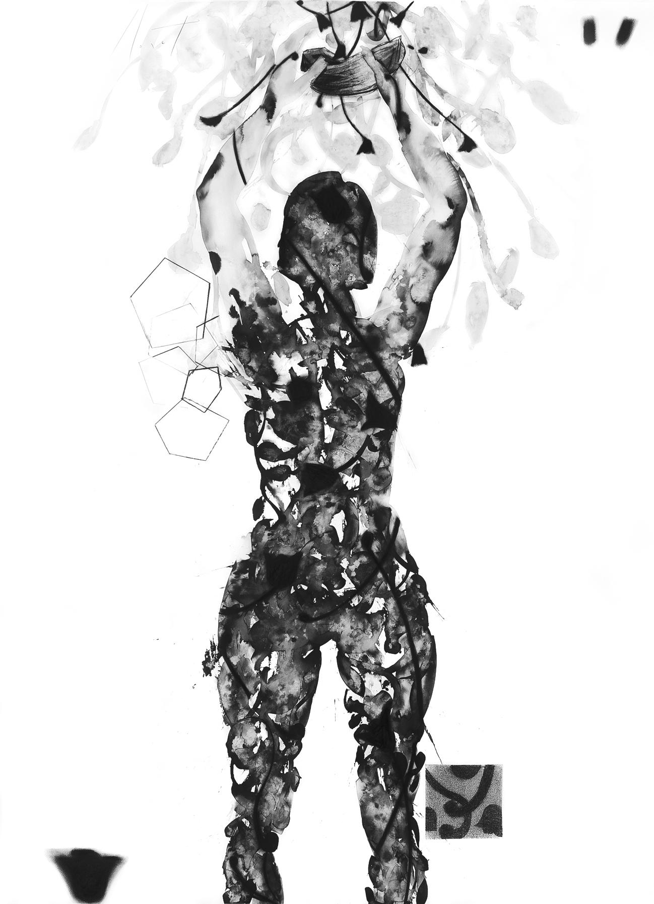 Oferenda  nanquim pastel carvao sobre papel 190X140cm 2013