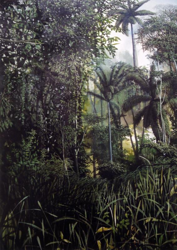 poetica aquarela colada e montada sobre tela 170X120cm 2001